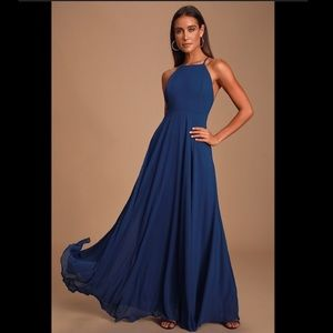 Lulus Navy Blue Maxi Dress Size 0/XS Prom Dress